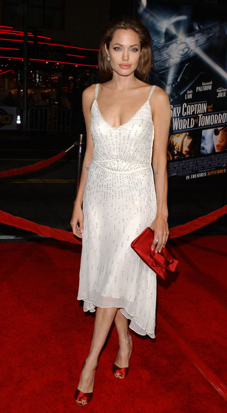 Sparkling In A White Chiffon Cocktail Dress At A 2004 Premiere Event