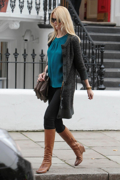 Claudia Schiffer Dons Cognac Knee High Boots - Celebrity Clothes ...