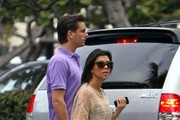 Kourtney Kardashian and Scott Disick arrive at a restaurant to grab lunch.