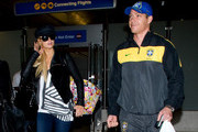 Paris Hilton arrives at LAX (Los Angeles International Airport) with her boyfriend Cy Waits.