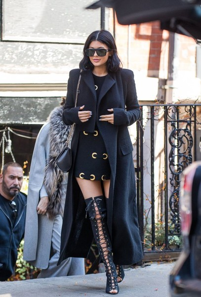 Turning Heads In A Haider Ackermann LBD With Lace-Up Over-The-Knee Boots