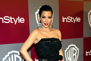 TV personality Kim Kardashian arrives at the 2011 InStyle And Warner Bros. 68th Annual Golden Globe Awards post-party held at The Beverly Hilton hotel on January 16, 2011 in Beverly Hills, California.