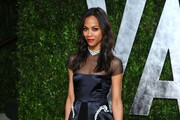 Actress Zoe Saldana arrives at the 2012 Vanity Fair Oscar Party hosted by Graydon Carter at Sunset Tower on February 26, 2012 in West Hollywood, California.