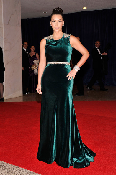 Wearing Emerald Floor-Grazing Velvet At The White House Correspondents' Dinner