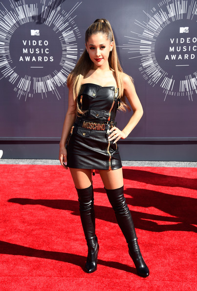 Edgy In Leather Moschino And Thigh-High Tom Ford Boots At The 2014 MTV Video Music Awards