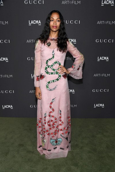 Zoe Saldana in Snake Embroidered Pink