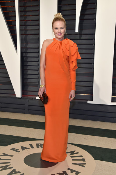 Malin Ackerman in an Orange Single-Sleeve Dress