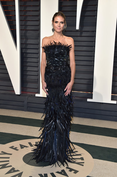 Heidi Klum in Black Feathers