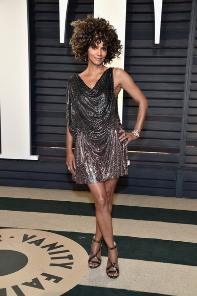 Halle Berry in a Draped Ombre Mini