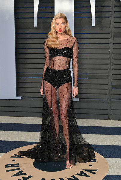 Elsa Hosk In Alberta Ferretti At The Vanity Fair Oscar Party
