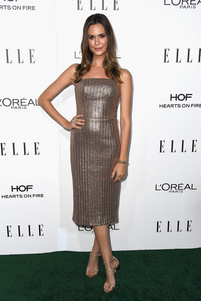Odette Annable in a Bronze Cocktail Dress