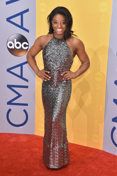 Simone Biles in Silver Sequins