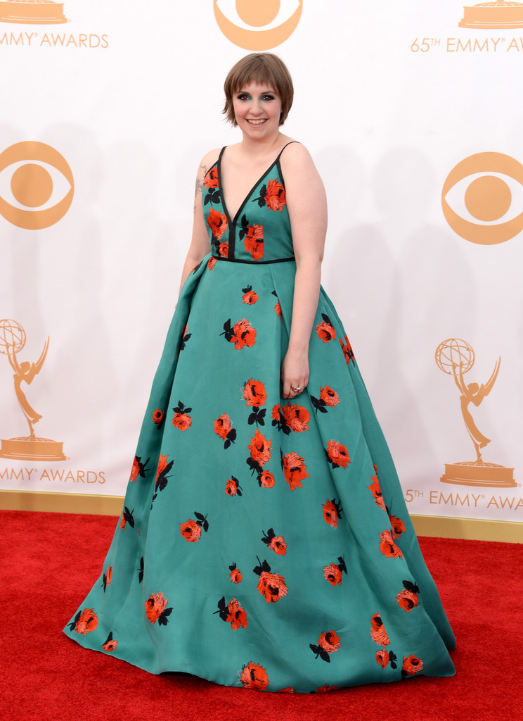 Lena Dunham in a Floral Prada Gown - 2013 Emmy Awards Red Carpet ...