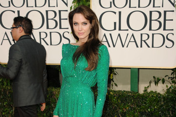 Green with Envy: Angelina Jolie in Versace at the Golden Globe Awards