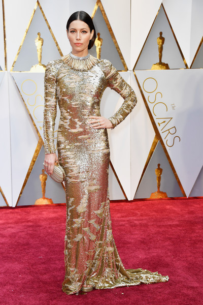Jessica Biel in a Burned Out Gold Kaufman Franco Gown