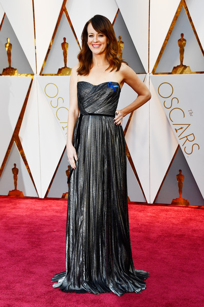 Rosemarie Dewitt in a Metallic Gunmetal Gown
