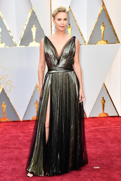Charlize Theron in Metallic Pleats