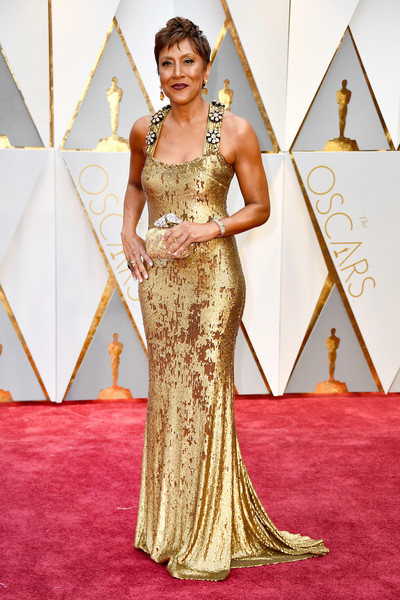 Robin Roberts in a Gold Gown with Ornate Straps