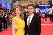 Emma Stone and Andrew Garfield attend the world premiere of 'The Amazing Spider-Man 2' at The Odeon Leicester Square on April 10, 2014 in London, England.