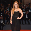 Amy Adams in an Elegant Strapless Black Gown