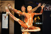 Gunther von Hagen poses with the jumping dancer exhibit at his 'Body Worlds' exhibition at Postbahnhof on May 6, 2009 in Berlin, Germany. The exhibit opens to the public on May 7. (Photo by Andreas Rentz/Getty Images) *** Local Caption *** Gunther von Hagen