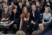 (L to R) Clemence Poesy, Eddie Redmayne, Rosie Huntington-Whiteley, Mario Testino and Kate Bosworth attend the Burberry Autumn Winter 2012 Womenswear Front Row during London Fashion Week at Kensington Gardens on February 20, 2012 in London, England.
