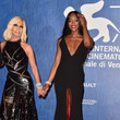 Donatella Versace and Naomi Campbell in Black Gowns