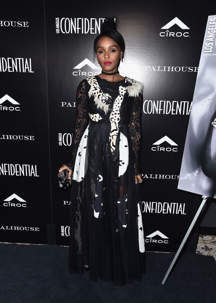 In An Avant-Garde, Feathered Mixed-Media Gown At A West Hollywood Press Event