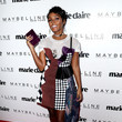 In A Funky Asymmetrical Mixed-Print Dress And T At The 'Marie Claire' Fresh Faces Celebration