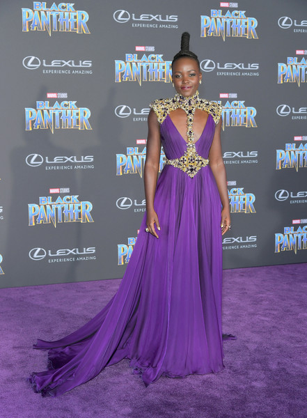 Lupita Nyong'o In Atelier Versace At The 'Black Panther' Hollywood Premiere