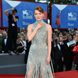Emma Stone in Silver Blue Versace