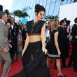 Kendall Jenner in a Black Crop-Top and Skirt Set at Cannes 2015