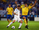Zlatan Ibrahimovic of Sweden challenges Georgios Karagounis of Greece during the UEFA EURO 2008 Group D match between Greece and Sweden at Stadion Wals-Siezenheim on June 10, 2008 in Salzburg, Austria.