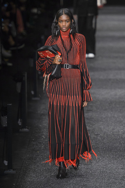 alexander McQueen sewn strips on folds red on greyblack