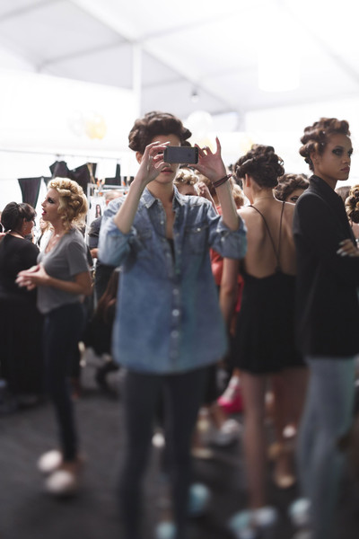 Betsey Johnson at New York Spring 2015 (Backstage) [people,crowd,fashion,event,fun,design,performance,glasses,photography,eyewear,crowd,people,betsey johnson,fashion,design,performance,glasses,photography,street,new york fashion week,fashion,street,crowd]