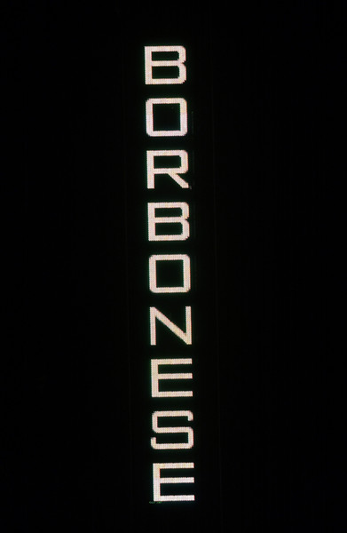 Borbonese at Milan Spring 2004 [text,text,black,font,darkness,logo,photography,brand,graphics,computer,font,product,wallpaper,meter,borbonese,darkness,logo,milan fashion week,wallpaper,font,neon,m,product,computer,meter]