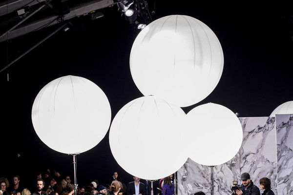 Carven at Paris Fall 2016 [photography,white,balloon,light,sky,black-and-white,monochrome photography,monochrome,party supply,circle,crowd,light,white,balloon,light fixture,meter,carven,monochrome,space,paris fashion week,light fixture,space,meter,light]
