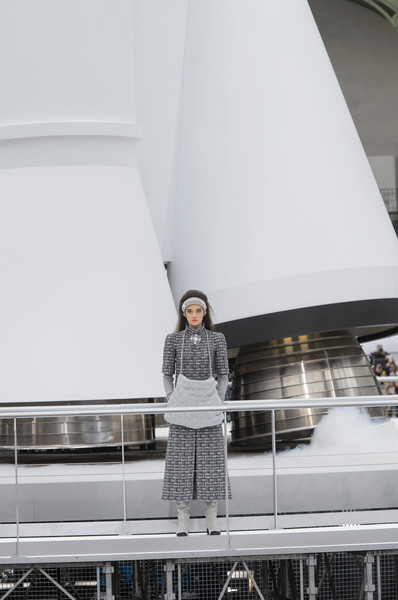 Chanel at Paris Fall 2017 [white,architecture,vehicle,photography,vacation,tourist attraction,sail,tourism,luxury yacht,fashion,fashion week,suit,runway,white,tourist attraction,chanel,paris fashion week,fashion show,vacation,chanel,fashion week,runway,chanel suit,fashion,fashion show,autumn,paris,winter]