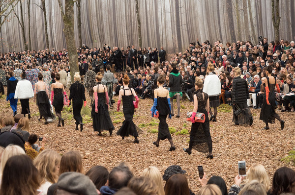 Chanel at Paris Fall 2018 [people,crowd,audience,event,community,tree,spring,fun,performance,plant,fashion,clothing,runway,community,tree,spring,winter,chanel,paris fashion week,event,chanel,paris fashion week,autumn,ready-to-wear,winter,clothing,runway,fashion,fashion show]