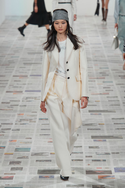 Christian Dior at Paris Fall 2020 [fashion,white,runway,fashion model,fashion show,clothing,human,pantsuit,street fashion,haute couture,christian dior,maria grazia chiuri,fashion,runway,fashion week,street fashion,fashion model,paris fashion week,fashion show,milan fashion week,maria grazia chiuri,runway,milan fashion week,fashion show,fashion,paris fashion week 2020,fashion week,dior,ready-to-wear]