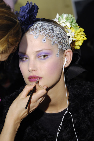 Christian Lacroix at Couture Spring 2008 (Backstage) [hair,headpiece,hair accessory,beauty,hairstyle,lip,eyebrow,fashion,fashion accessory,forehead,jewellery,supermodel,headpiece,fashion,model,hair,haute couture,flower,purple,couture spring 2008,headpiece,model,supermodel,haute couture,fashion,flower,purple,jewellery,beauty.m]