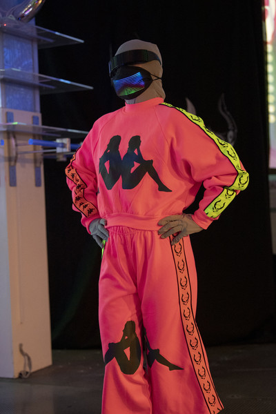 Cyberdog X Kappa at London Spring 2021 [performance art,pink,costume,magenta,outerwear,fictional character,cosplay,cosplay,kappa,spring,audience measurement,pink,costume,cyberdog x,london fashion week,fashion show,performance art,cosplay,audience measurement,fashion show,spring,ready-to-wear,measurement,summer,cyberdog,2021]