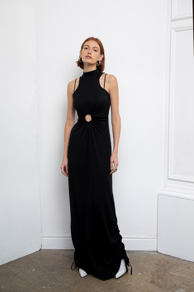 Daname at Paris Fall 2021 [hair,hand,one-piece garment,outerwear,arm,dress,shoulder,neck,day dress,waist,dress,dress,pants,trousers,shoe,women,black,wear,wool,paris fashion week,t-shirt,margaret howell,black,trousers,dress,little black dress,womens pants,formal wear,wool,shoe]