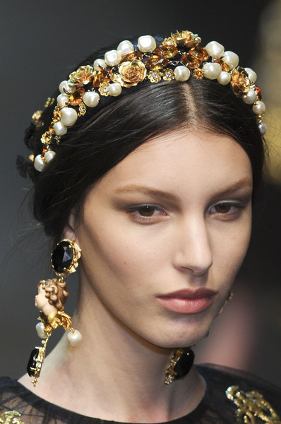 Dolce & Gabbana at Milan Fall 2012 (Details) [hair,headpiece,hairstyle,hair accessory,eyebrow,beauty,jewellery,fashion,fashion accessory,forehead,jewellery,fashion accessory,earring,hair accessory,fashion,headgear,eyebrow,beauty,dolce gabbana,milan fashion week,milan fashion week,dolce gabbana,tiara,fashion,jewellery,earring,headband,fashion accessory,headgear]