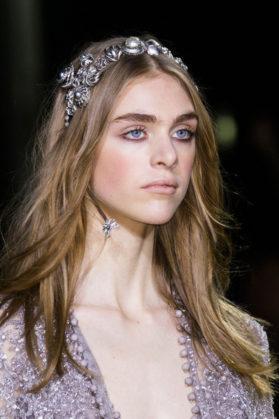 Elie Saab at Couture Spring 2016 (Details) [hair,headpiece,hair accessory,face,clothing,hairstyle,beauty,fashion,blond,eyebrow,people,beauty,face,fashion,model,makeup,hairstyle,clothing,elie saab,couture spring 2016,lily-rose depp,facial makeup,beauty,face,french people,model,\u7709\u58a8,beauty parlour,fashion]