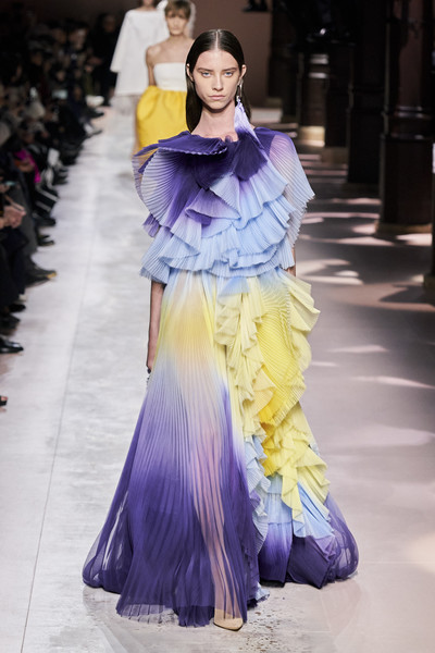Givenchy at Couture Spring 2020 [fashion model,fashion,haute couture,clothing,purple,shoulder,fashion show,yellow,fashion design,dress,clare waight keller,fashion,haute couture,clothing,spring,fashion model,shoulder,givenchy,couture spring 2020,fashion show,clare waight keller,givenchy,haute couture,fashion,spring,fashion show,clothing,givenchy printemps]