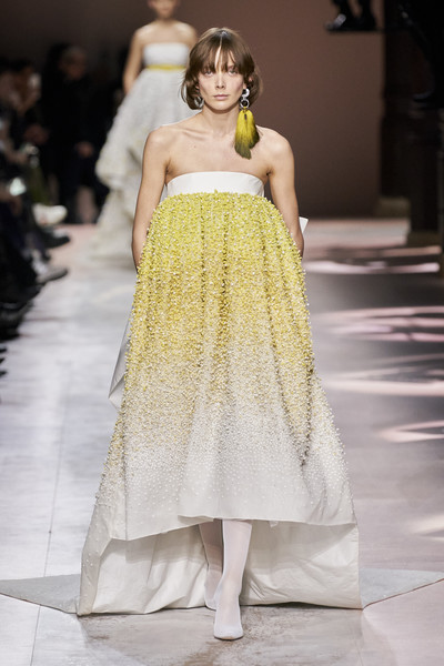 Givenchy at Couture Spring 2020 [fashion model,fashion,clothing,dress,fashion show,haute couture,runway,shoulder,gown,yellow,clare waight keller,haute couture,fashion,spring,fashion model,runway,givenchy,couture spring 2020,fashion show,paris fashion week,clare waight keller,givenchy,haute couture,fashion,chanel,paris fashion week,fashion show,spring]