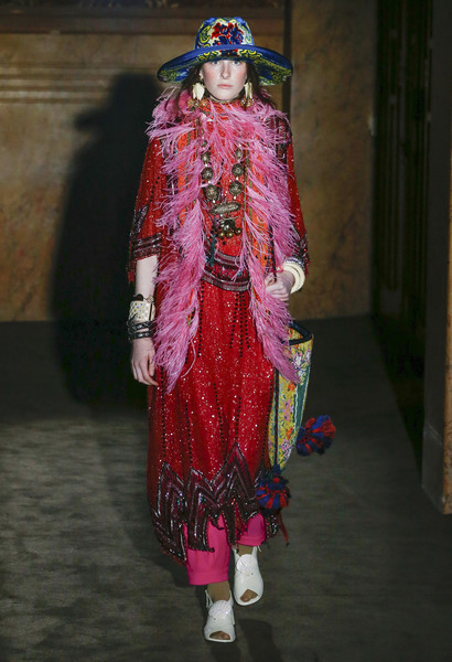 Gucci at Paris Spring 2019 [clothing,fashion,fashion design,pink,haute couture,magenta,formal wear,dress,fashion model,tradition,dress,alessandro michele,dior,clothing,fashion,spring,wear,haute couture,gucci,paris fashion week,alessandro michele,paris fashion week 2018,gucci,spring,clothing,fashion,dior,ready-to-wear]