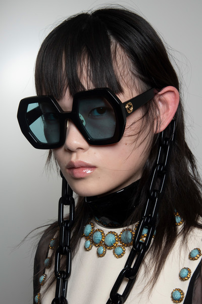 Gucci at Milan Spring 2020 (Backstage) [eyewear,hair,sunglasses,glasses,cool,face,hairstyle,personal protective equipment,goggles,black hair,sunglasses,eyewear,glasses,fashion,hair,hairstyle,equipment,hair,gucci,milan fashion week,glasses,sunglasses,gucci,fashion,eyewear,milan fashion week,2020,spring 2020 fashion show]