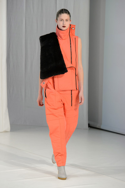 Hussein Chalayan at London Fall 2018 [fashion show,fashion,fashion model,clothing,orange,runway,outerwear,shoulder,trousers,neck,outerwear,hussein chalayan,runway,fashion,fashion week,clothing,model,fashion model,london fashion week,fashion show,hussein chalayan,runway,london fashion week,fashion show,ready-to-wear,model,fashion,fashion week,vogue,clothing]